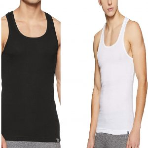 Jockey Men's Sports Vest Style 9922 Pack Of 2 In Black and White Color