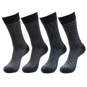 Bonjour Mens Mercerized Formal Designer Full Lenght Socks Pack Of 4 Pcs