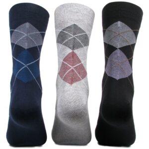 Bonjour Mens Argyle Style Checks Designer Full Lenght Pack Of 3 Pcs