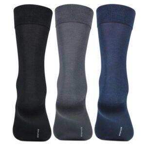 Bonjour Mens Mercerized Formal Plain Full Lenght Socks Pack Of 3 Pcs