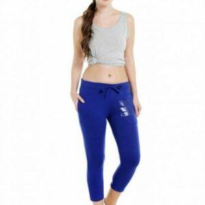 Body Active Women's Fashion Plain Royal Blue Capri LC-05