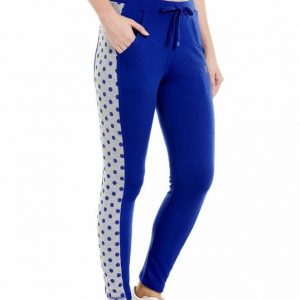 Body Active Women Fashion Polka Dot Track Lower in Royal Blue LL-14