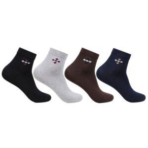Bonjour Mens Plain Center Motif Ankle Asst. Socks Pack Of 4 Pcs