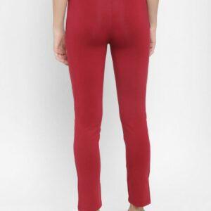 Floret Slim Fit Pants In Mehroon Color, P-20023