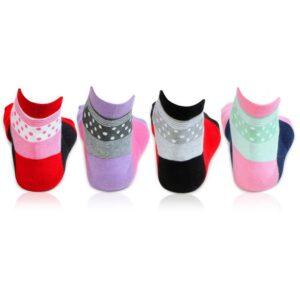 Bonjour Women`s Abstract Design Thumb Ankle Socks Pack of 4 Pcs