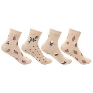 Bonjour Women`s Fancy Design Fawn  Ankle Socks Pack of 4 Pcs