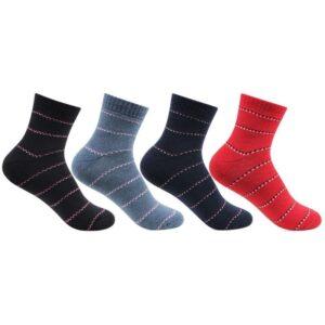 Bonjour Women`s Fancy Strip Ankle Socks Pack of 4 Pcs